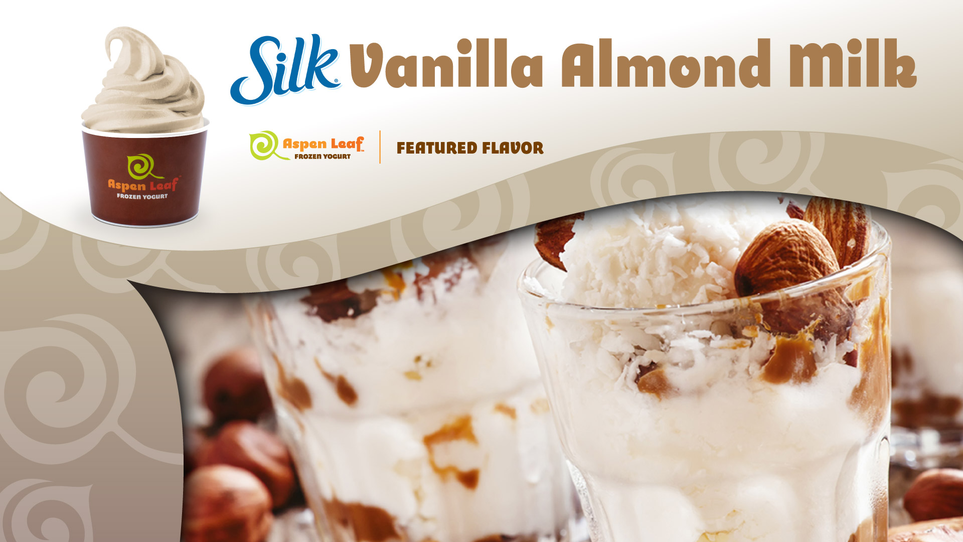 branded cup of yogurt with SILK almond milk logo